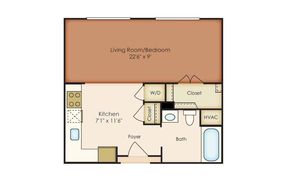 Alden - Studio floorplan layout with 1 bath and 498 square feet.