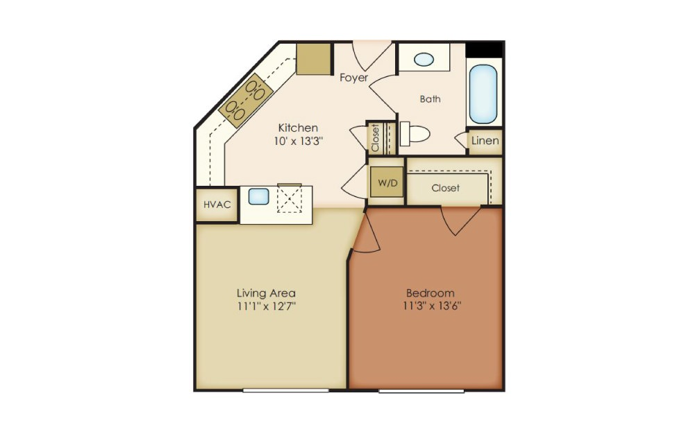 Andre - 1 bedroom floorplan layout with 1 bath and 607 square feet.