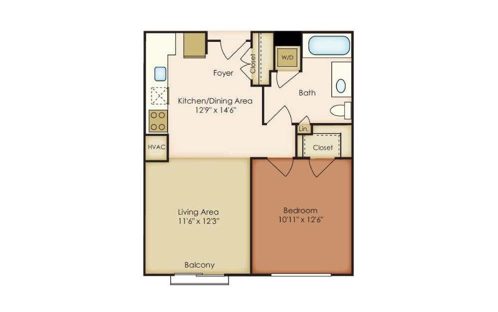 Baldwin - 1 bedroom floorplan layout with 1 bath and 647 to 661 square feet.