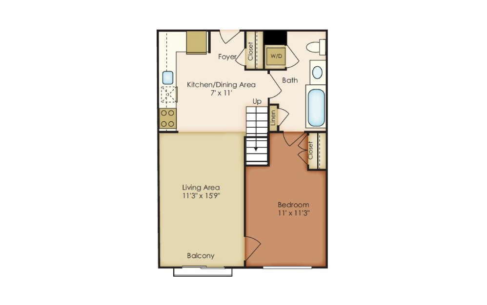 Charles - 1 bedroom floorplan layout with 1 bath and 853 square feet.