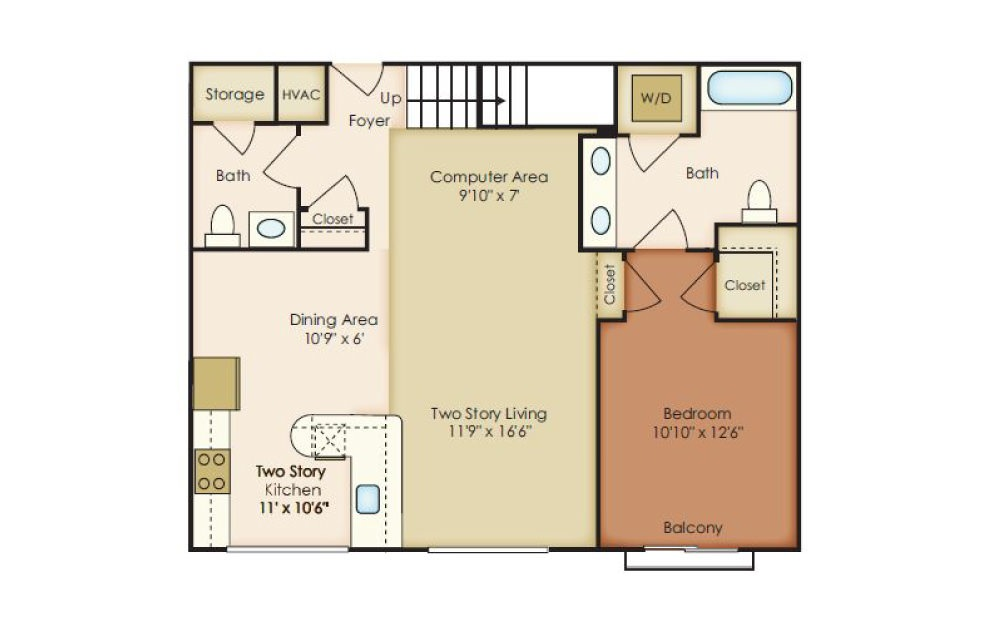 Hall - 2 bedroom floorplan layout with 2 baths and 1591 to 1620 square feet.
