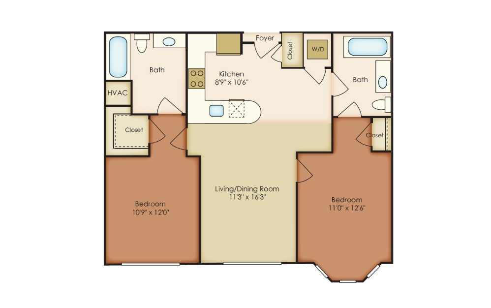 Harper - 2 bedroom floorplan layout with 2 baths and 994 square feet.
