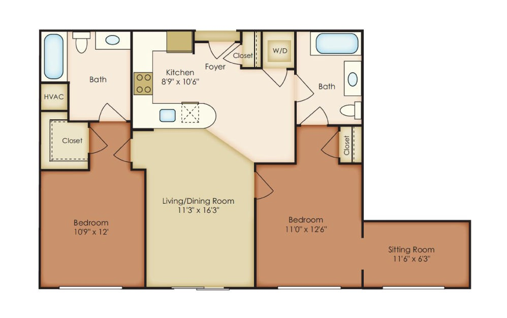 McComas - 2 bedroom floorplan layout with 2 baths and 1055 square feet.