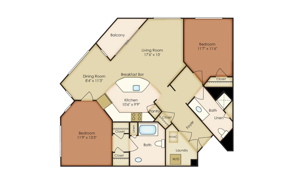 Penn - 2 bedroom floorplan layout with 2 baths and 1121 to 1197 square feet.